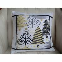 weihnachtlicher Kissenbezug - schwarz-weiß-gold - genäht von Patchwerk Bild 1
