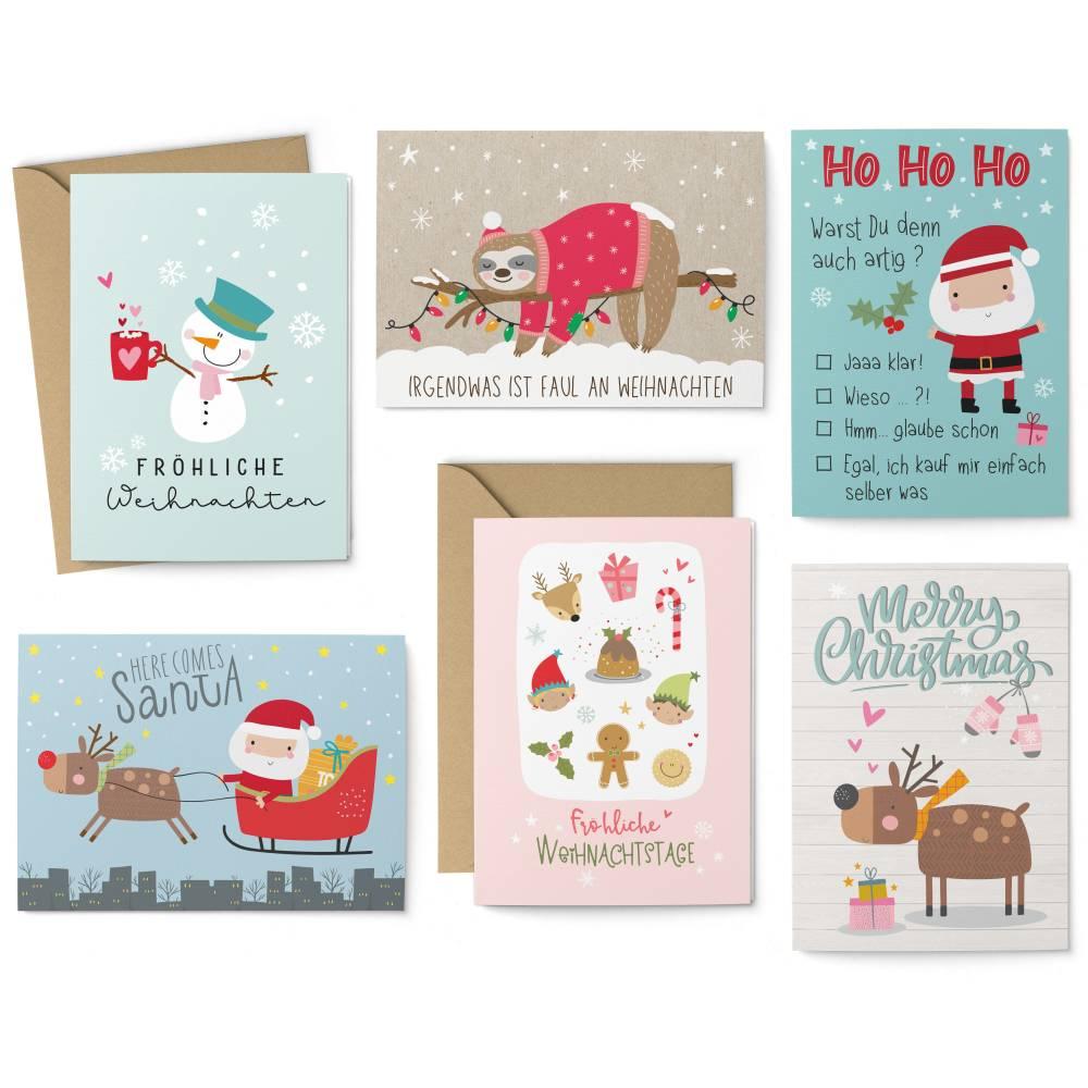 Weihnachtskarten-Set Barn - 8 Postkarten, 4 Klappkarten mit Umschlag Bild 1