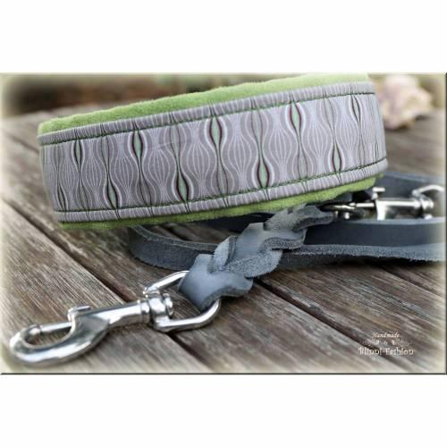 romantisches Halsband mit Zugstopp für Hunde, Hundehalsband in grün, grau, Martingale