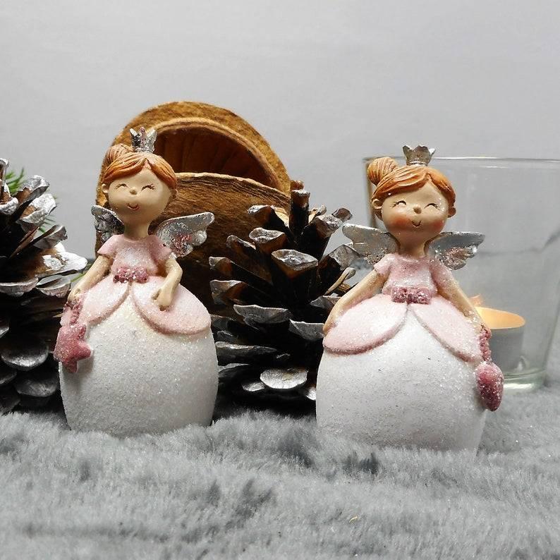 Weihnachtsdeko 2er Set Engel in rosa, Tischdeko Weihnachten, Stückpreis 4,90 Euro, Material Bild 1