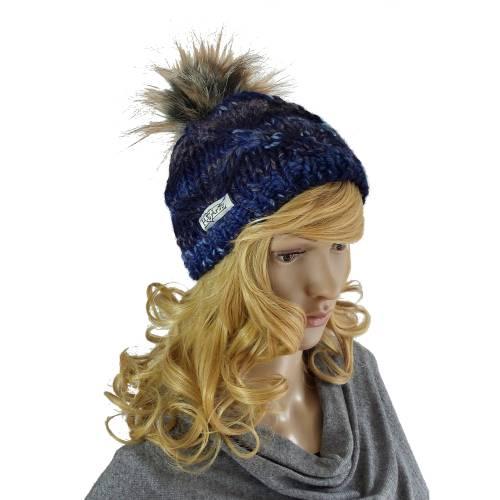 Mütze mit Kunst-Fell-Bommel blau Strickmütze
