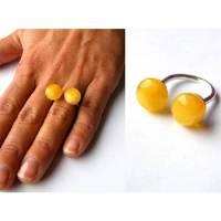 Ring, echte Amber Ring, Augen, Sterling Silber 925, gelb, milchig, weiß, modernes Design, Geschenk für sie, Geschenkbox,