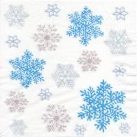 5 Servietten / Motivservietten  Winter / Weihnachts Motive / Eiskristalle  / Schneeflocken  blau - weiß - grau - silber  Bild 1
