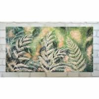 Frosted fern and falling leaves - Acrylbild mit Farn und fallenden Blättern, versehen mit irisierendem Glitter Bild 1