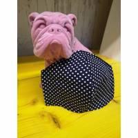 Behelfsmaske, Gesichtsmaske Blue dunkel dots Punkte uni, Nasen-Mund-Bedeckung , Maske, snutenpulli, NMB   Bild 1