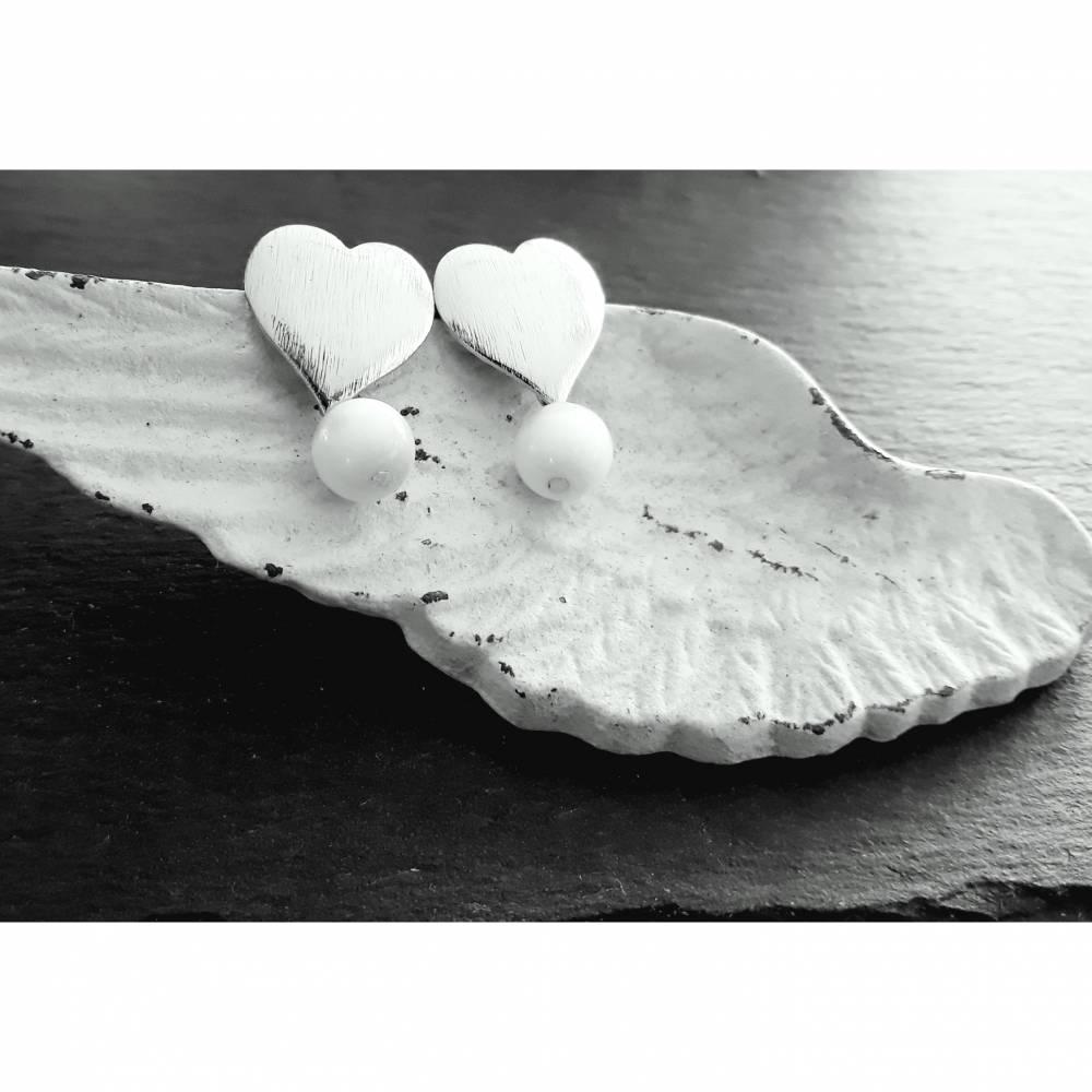 """Ohrringe """"Herz mit Perle"""" Bild 1"""