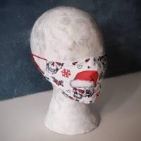 Behelfsmaske CAREdeLUXe, Weihnachten XmasSkull mit Nasenbügel und Einschubtasche Bild 1