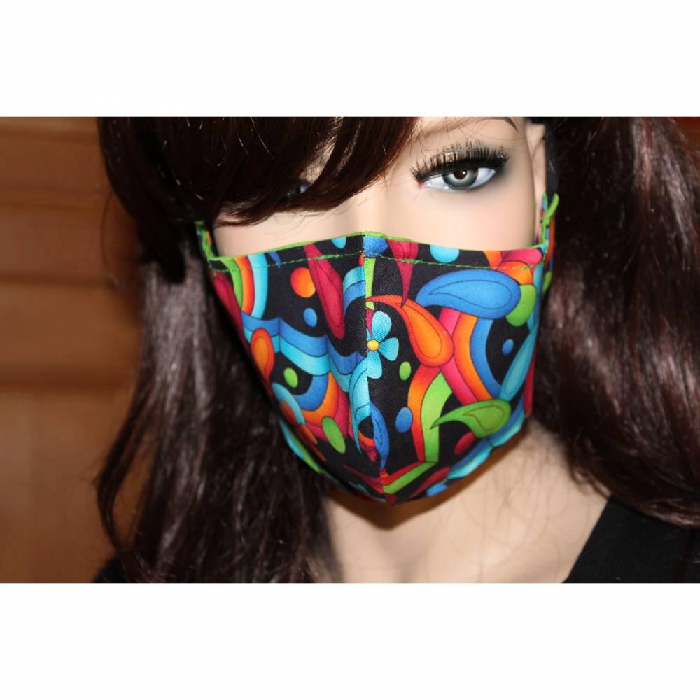 Gesichtsmaske/ MundNasenMaske/ Baumwolle/ 2-lagig/ waschbar 60 Grad/ Behelfsmaske/ Mundbedeckung/ Nasendraht * BUNT V * Bild 1