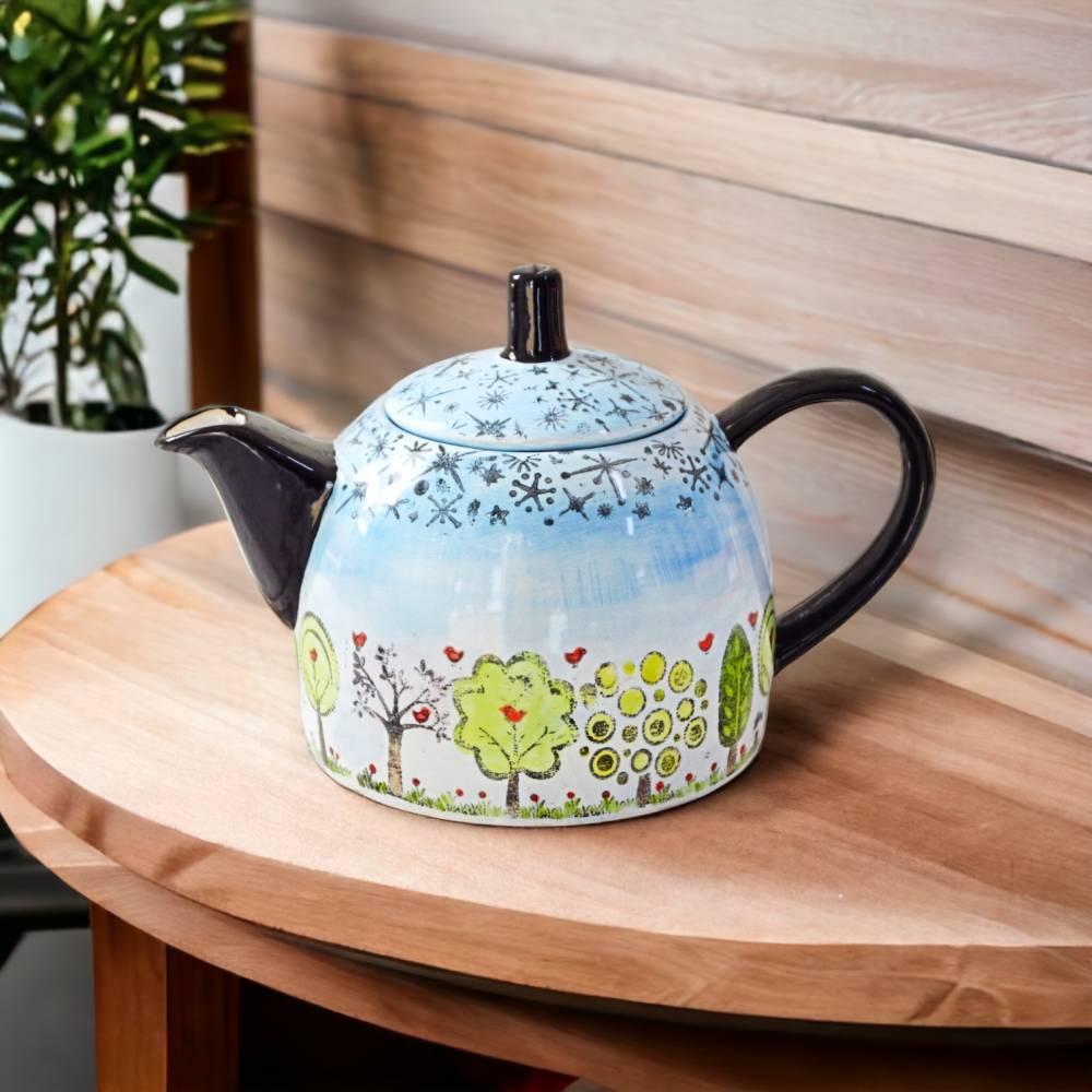 Teekanne Bäume mit Sternenhimmel 1l, Keramik handbemalt Bild 1