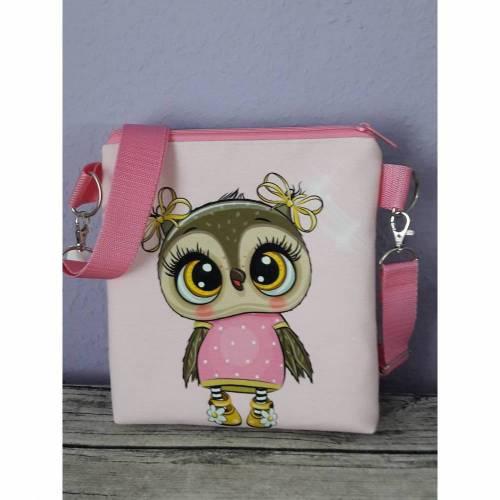 Umhängetasche für Kinder, Kindertasche Eule rosa