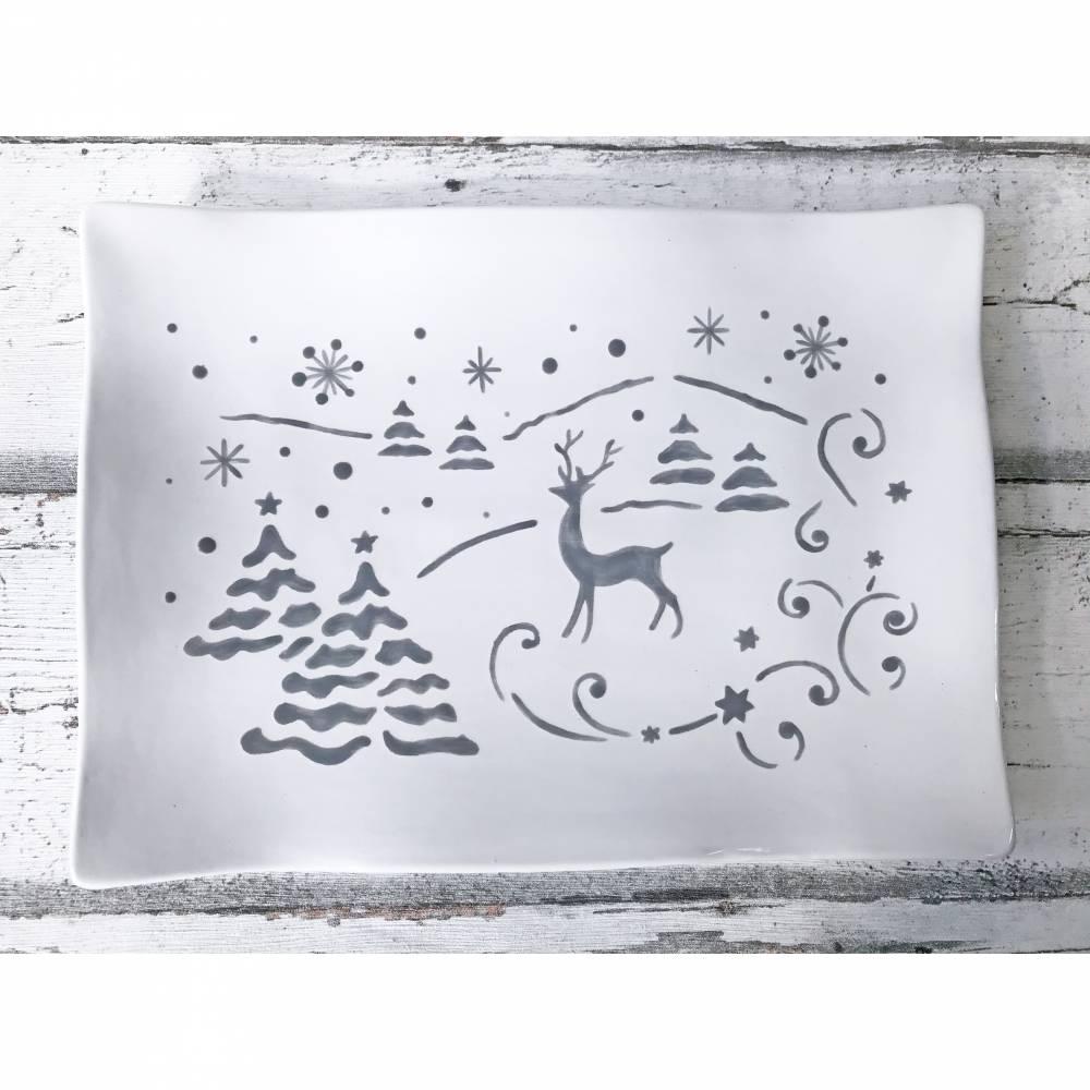 Teller für Stollen, Kuchenteller, Plätzchenteller, Weihnachten, Keramik, handbemalt Bild 1