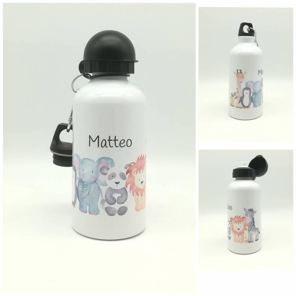 """Trinkflasche mit Namen """"Zootiere""""/ individuell/ Flasche/ Kindertrinkflasche Bild 1"""