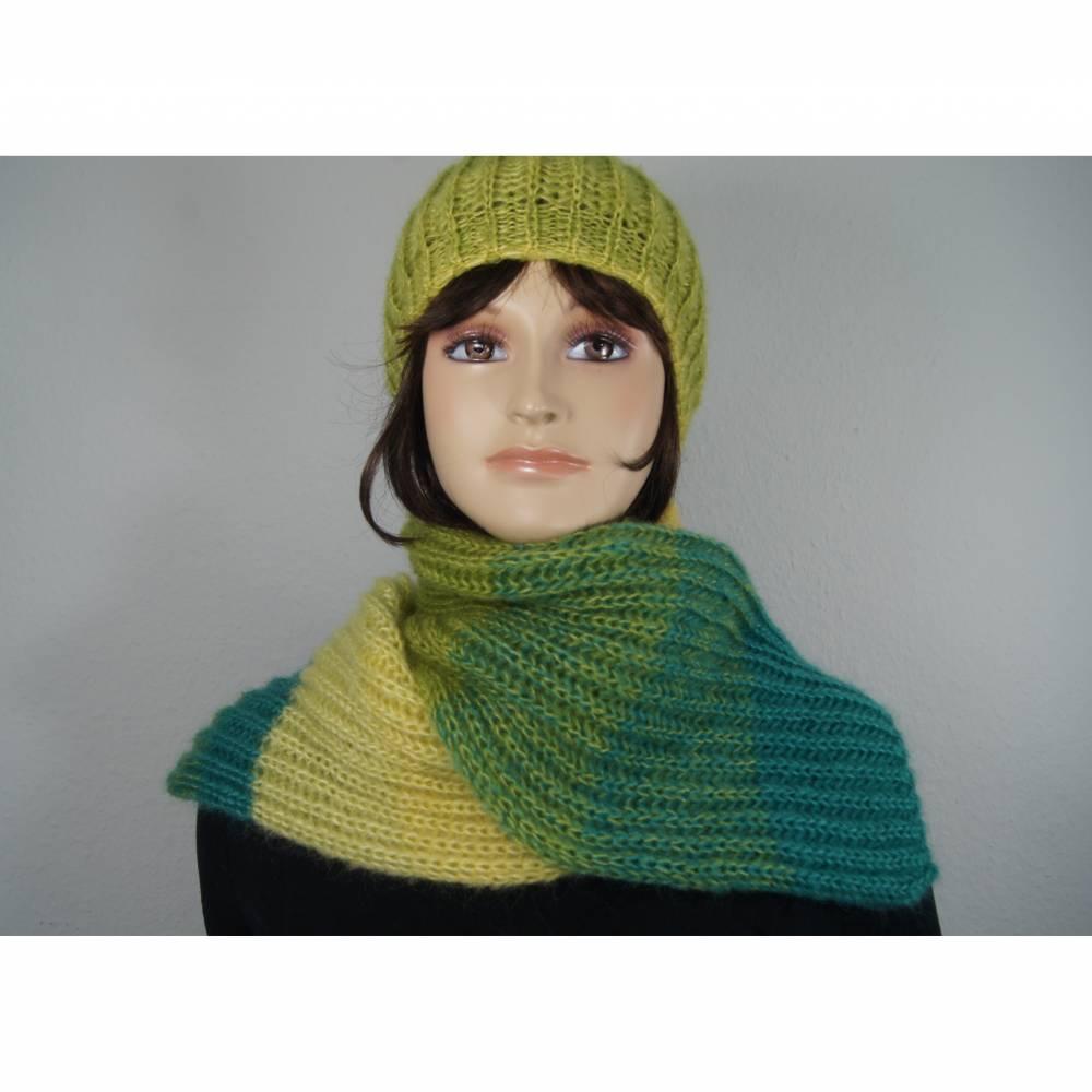 Mütze und Schal Set aus Mohair und Seide Bild 1