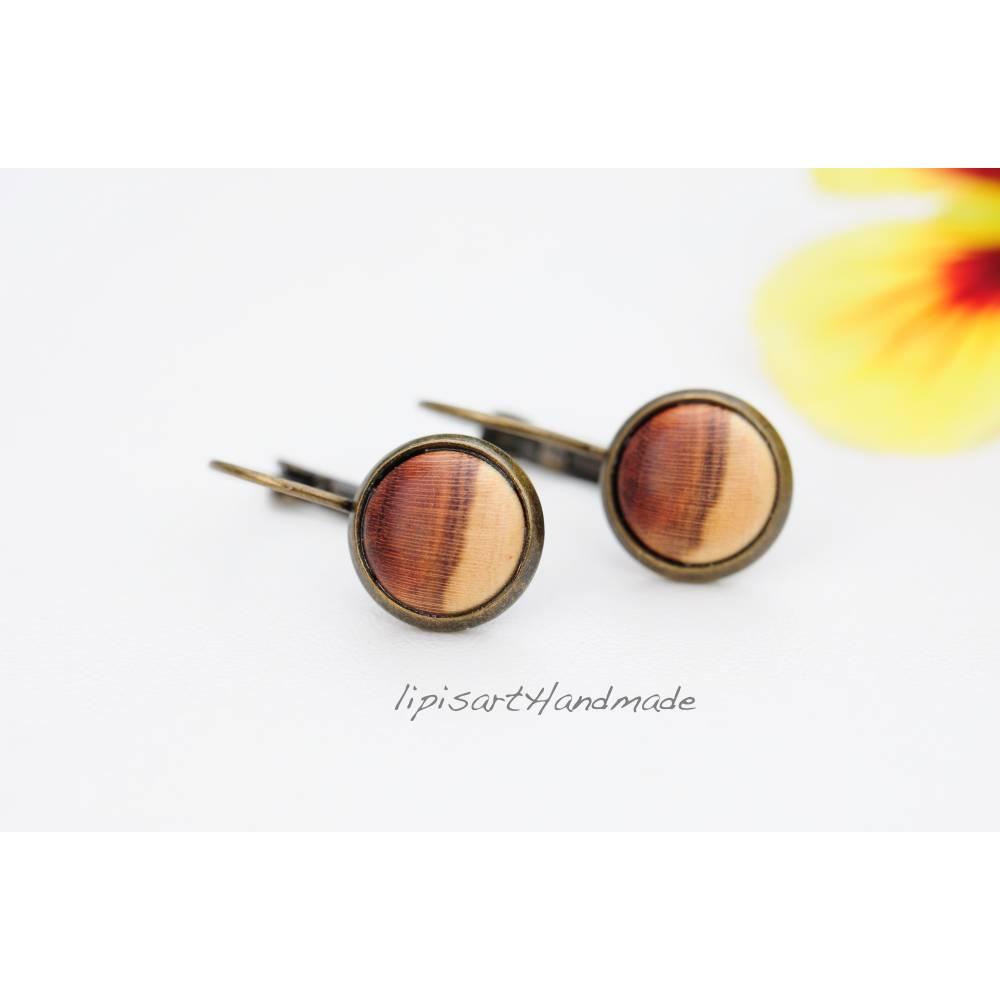 Holzohrringe – Ohrhänger Holz Marille Cabochon gedrechselt Klappbrisur bronzefarben ∅ 12 mm Bild 1
