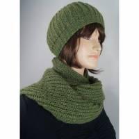 Mütze und Schal Set aus Alpaka und Kid-Mohair grün Bild 1
