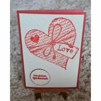 """Hochzeitskarte """" Herzlichen Glückwunsch """" Herz - Rot Bild 1"""