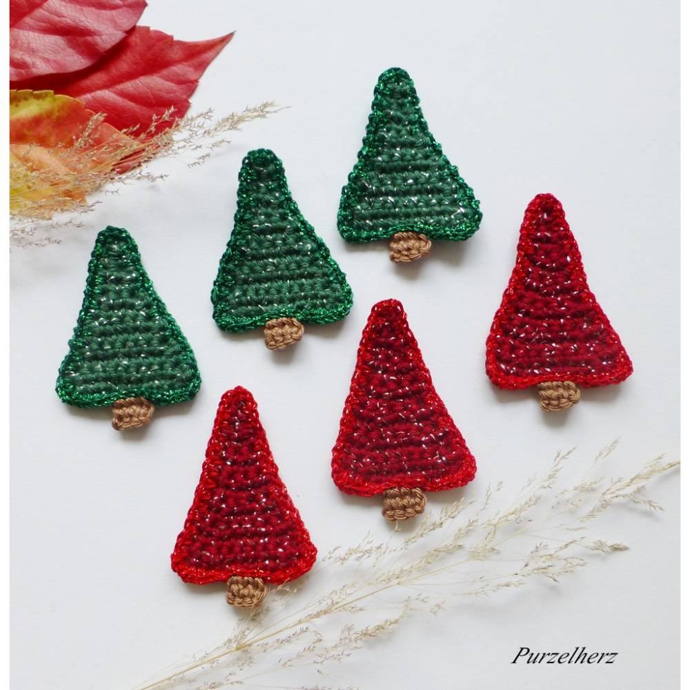 Gehäkelter Tannenbaum in Farbwahl rot oder grün Glitzer - Häkelapplikation,Streudeko,Tischdeko,Weihnachten,Gastgeschenk Bild 1