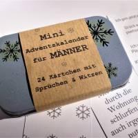 Miniadventskalender, 24 Kärtchen mit Witzen und Sprüchen für Männer, in der Dose, witzig, frech, fürs Büro, to go, mini Bild 1