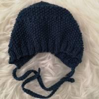 Baby-Häubchen/Babymütze in Petrol-Blau KU 30-32 Bild 1