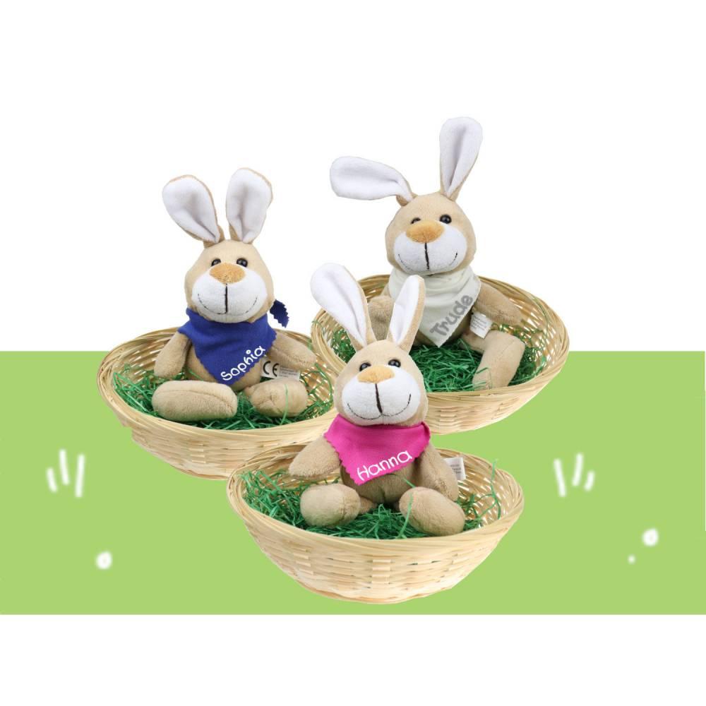 Ostergeschenk Osterkörbchen mit Hasen u. Namen Osternest - Geschenk zu Ostern personalisiert Set aus Kuscheltier & Hase Bild 1