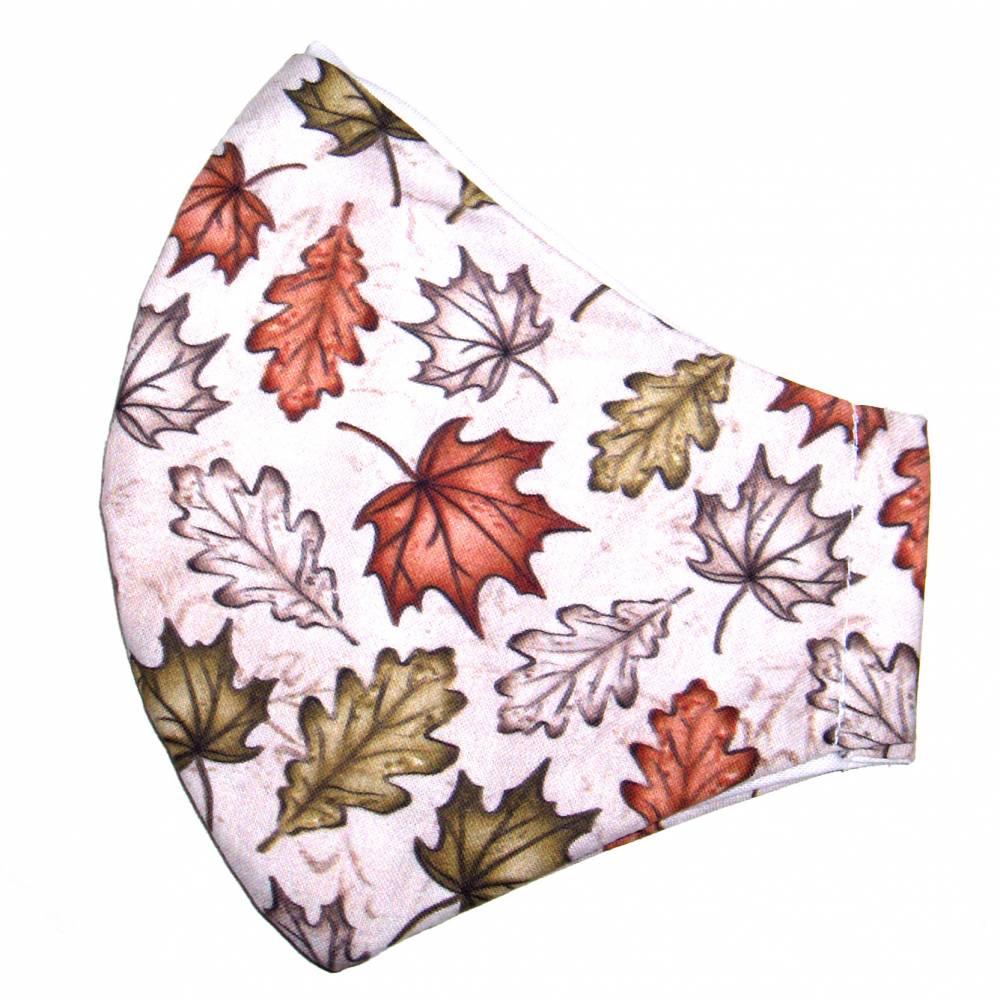 """MuNaske - Behelfs-Mund-Nase-Maske """"Herbst 02"""", Größe M, genäht aus Baumwollstoff, OHNE Nasenbügel - Waschba Bild 1"""