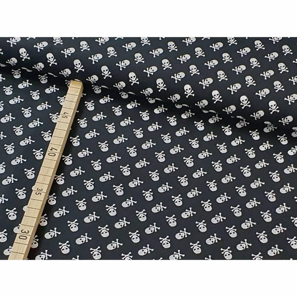 Baumwolle Totenkopf auf schwarz Bild 1