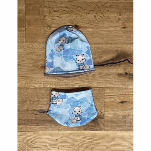Set Mütze Halssocke  KU 46 bis 49 cm süße Katzen mit Herzen auf hellblau
