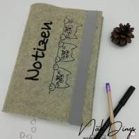 Buch- Kalenderhülle aus Filz - DinA5 Motiv 3 Katzen - Notizen Bild 1