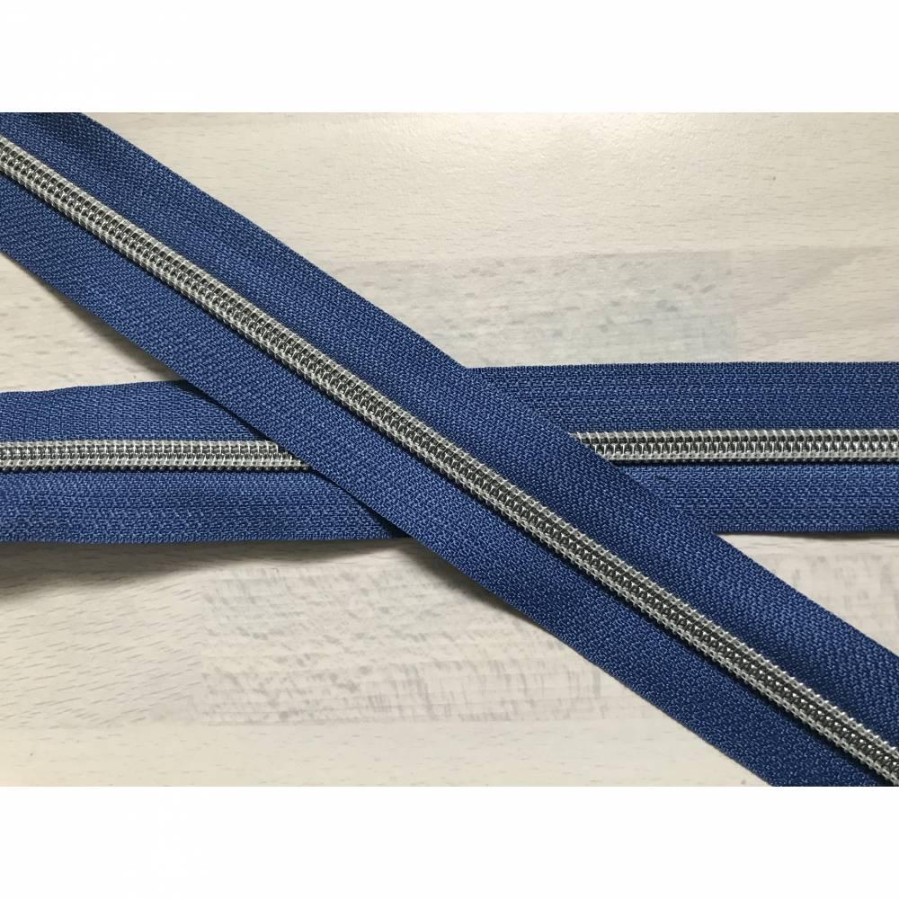Metallisierter Endlosreißverschluss breit jeansblau hell - Spirale silber Bild 1