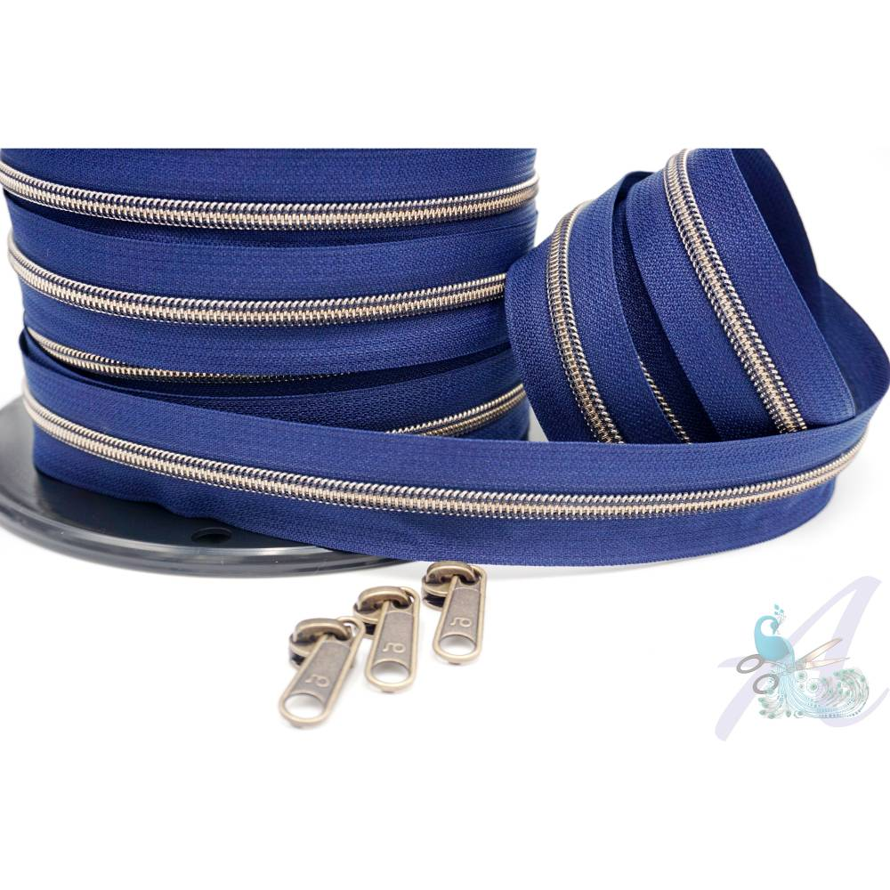 1m endlos Reißverschluss inkl. 3 Zippern - breit metallisiert dunkelblau - altmessing Bild 1