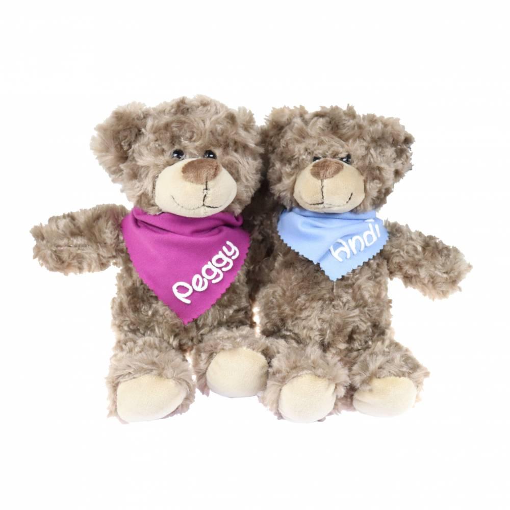 Kuschelteddy 25cm mit Namen am Halstuch Kuscheltier Teddy Teddybär personalisiert Personalisiertes Kuscheltier Stoffbär  Bild 1