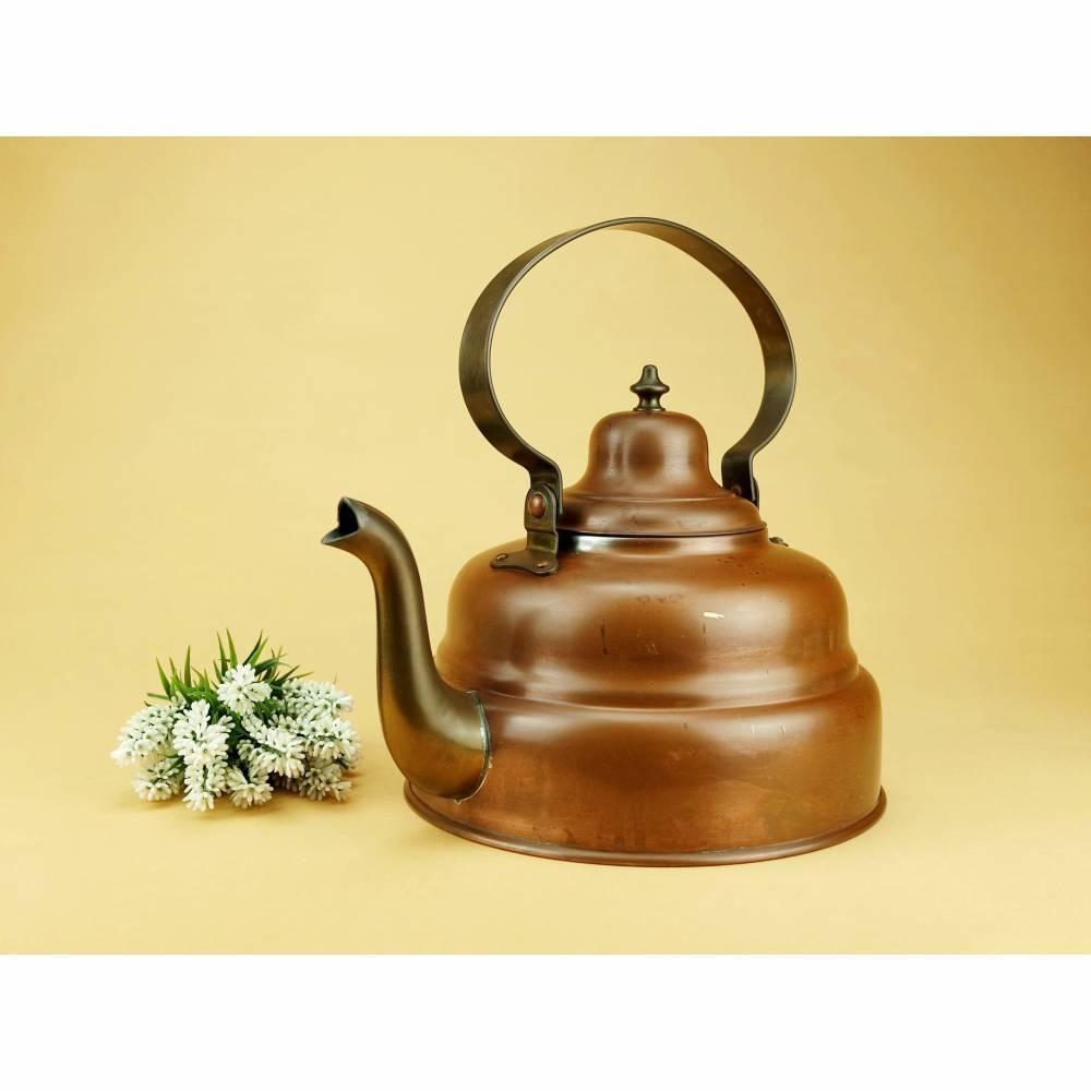 Vintage - Großer Wasserkessel Teekessel Kupfer Messing 3 Liter Dekoration Kupferkessel Bild 1