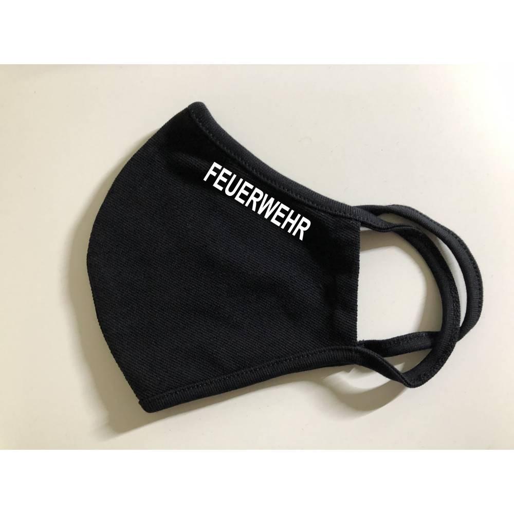 Mund Nasen Bedeckung, schwarz, antimikrobiell, Feuerwehr Druck weiß, verschiedene Größen, Bild 1