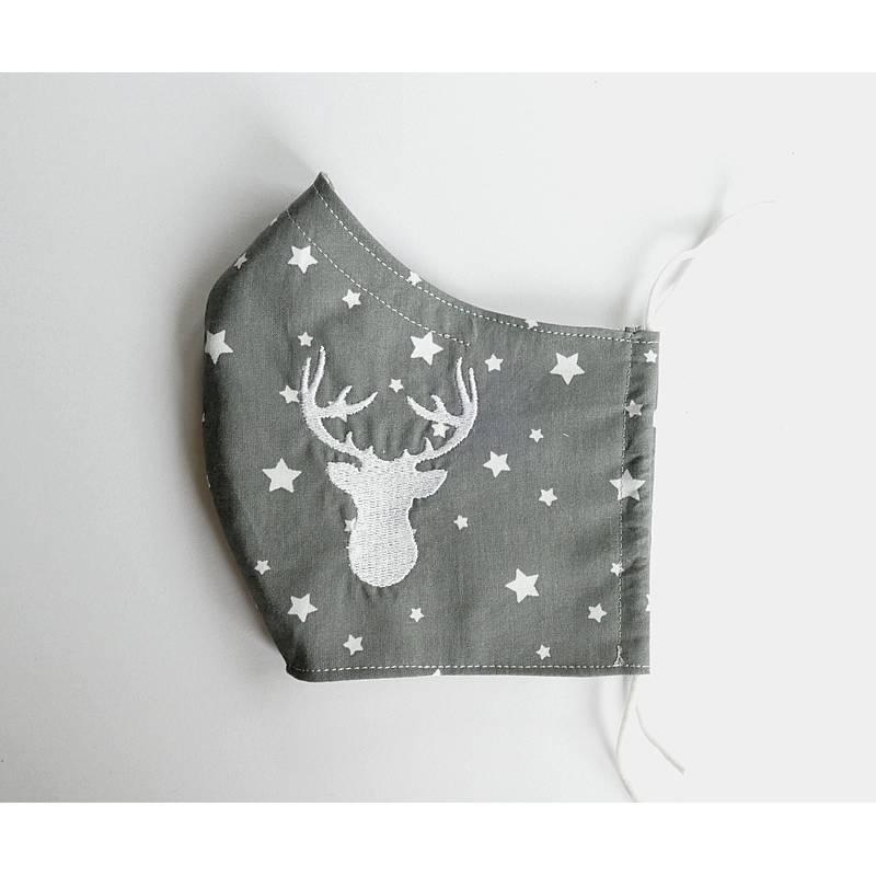 Behelfsmaske Weihnachten Hirsch Mund-Nasen-Maske mit Nasenbügel Mund-Nasen-Masken Stoffmaske Alltagsmaske Sterne grau/si Bild 1