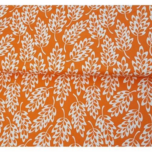 Baumwollstoff von Nerida Hansen Orange mit Blätterdruck