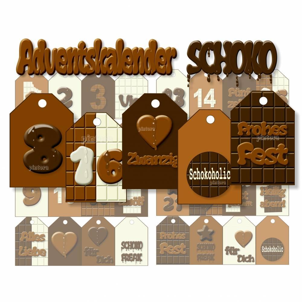 Adventskalender-Zahlen, Anhänger Schoko, 4 Größen zum Ausdrucken Bild 1