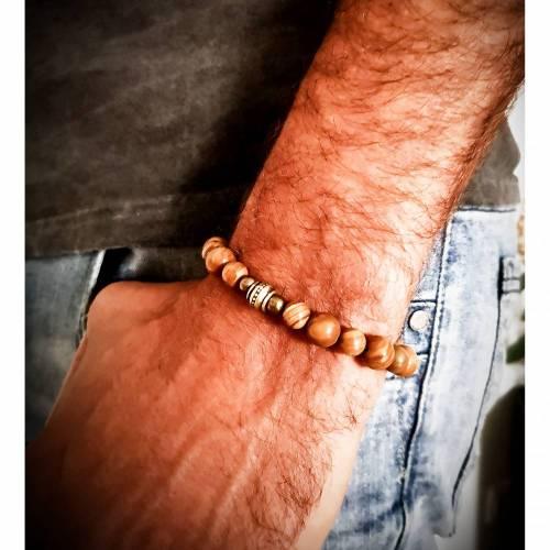 Armband mit Holzjaspisperlen, unisex, Armkette, elastisch