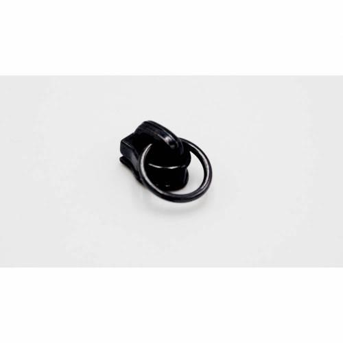 """Bügelschieber / Zipper """"Ring"""" für Endlos-Reißverschluß breit in gunmetal"""