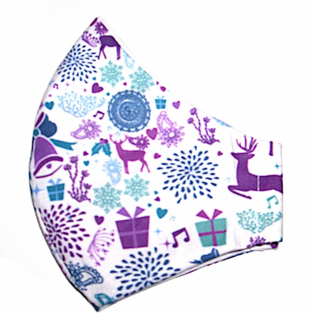 """MuNaske - Behelfs-Mund-Nase-Maske """"Weihnachten 01"""", Größe M, genäht aus Baumwollstoff, OHNE Nasenbügel - Waschba Bild 1"""