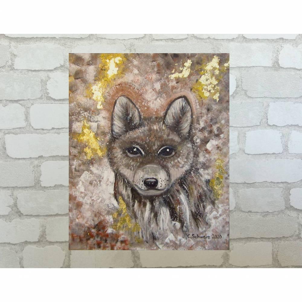 BABY WOLF -  abstraktes Acrylbild mit goldfarbigem Blattmetall auf Leinwand Bild 1