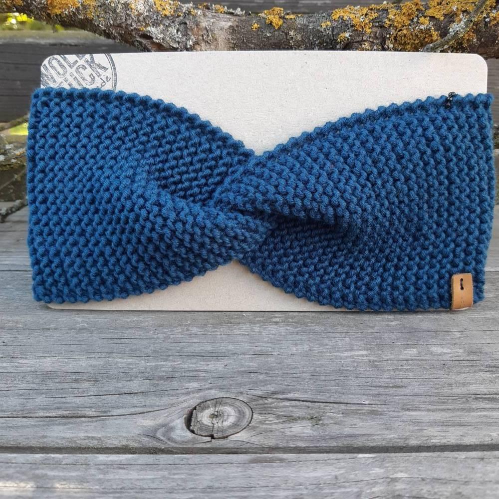 Stirnband mit Knoten handgestrickt - Wolle (Merino) - petrolblau Bild 1