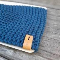 Stirnband mit Knoten handgestrickt - Wolle (Merino) - petrolblau Bild 2