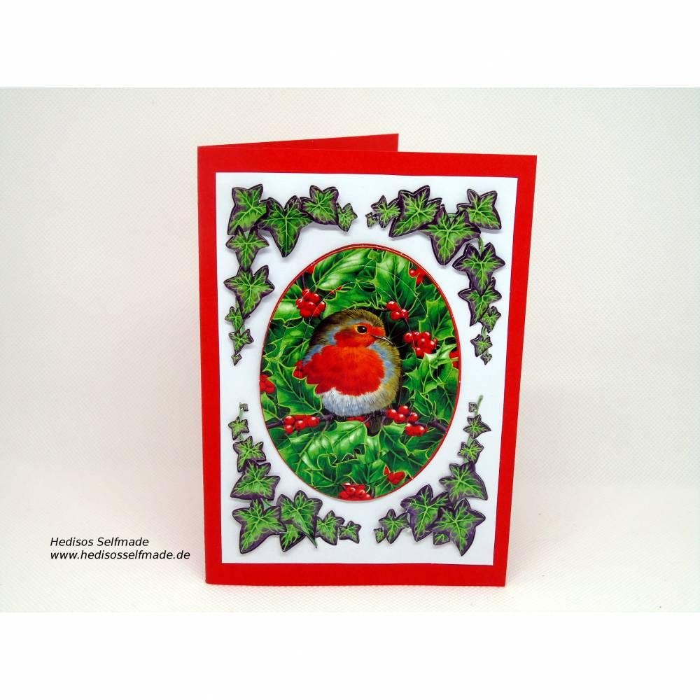 3-D-Weihnachtskarte mit #Vogel im Efeu Bild 1