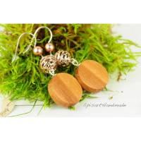 Lange Ohrringe – Apfelholz mit romantischen Muschelkernperlen Roségold Silberhaken 925 Bild 1