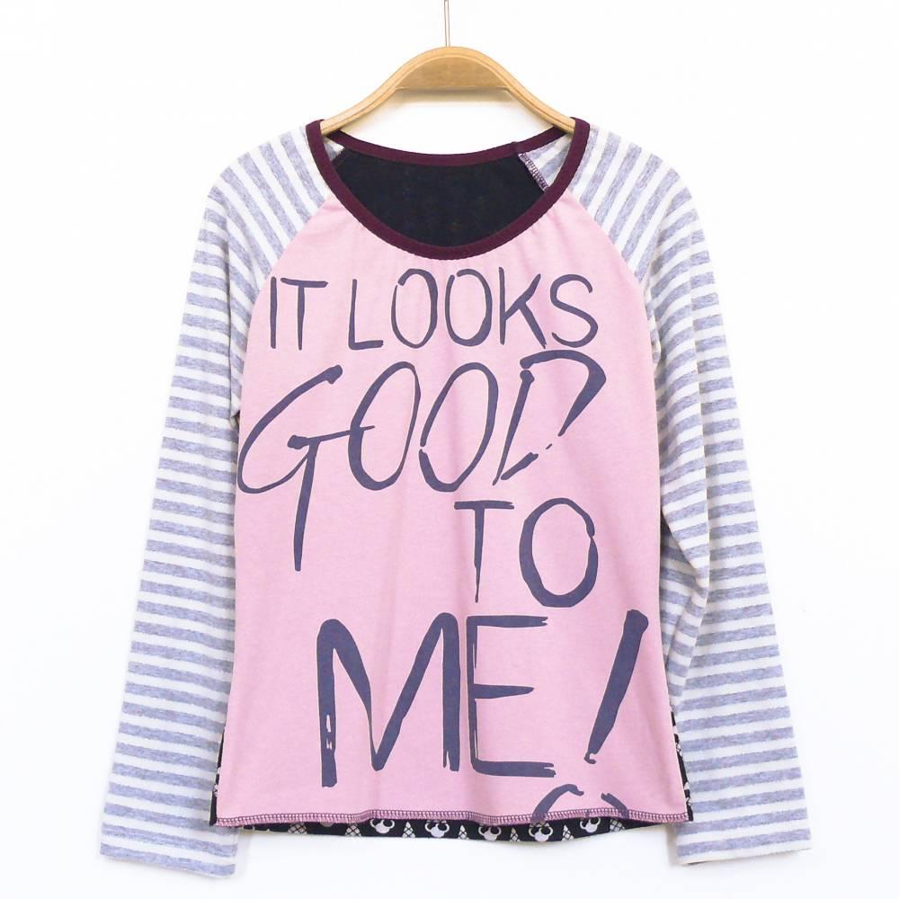 Upcycling Shirt 134 140 langärmlig rosa grau schwarz Unikat Bild 1