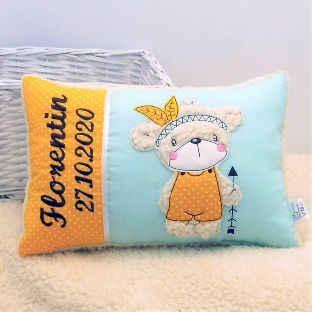 Kissen mit Name Kinderkissen Namenskissen Babykissen Geburtskissen personalisiert Geschenk Taufe Geburt Geburtstag Bild 1