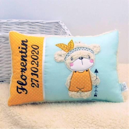 Kissen mit Name Kinderkissen Namenskissen Babykissen Geburtskissen personalisiert Geschenk Taufe Geburt Geburtstag
