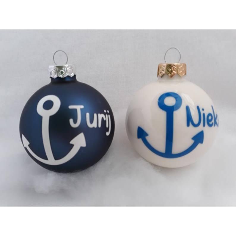 Weihnachtskugel mit Anker und individuellem Name | personalisierte Christbaumkugel | Weihnachtsgeschenk | Mediteran Bild 1