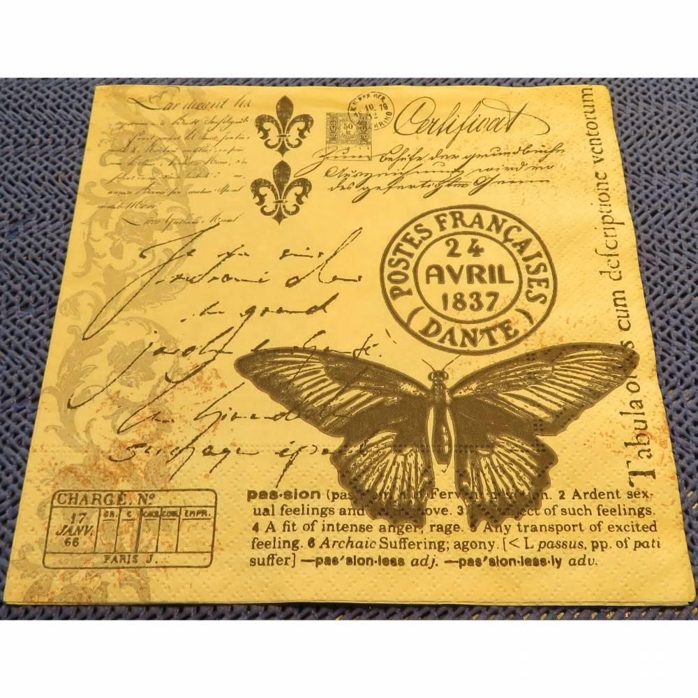 4 Servietten / Motivservietten  Retro - Nostalgie - Vintage Motive  /  Schriftzüge / Schmetterling  R379 Bild 1