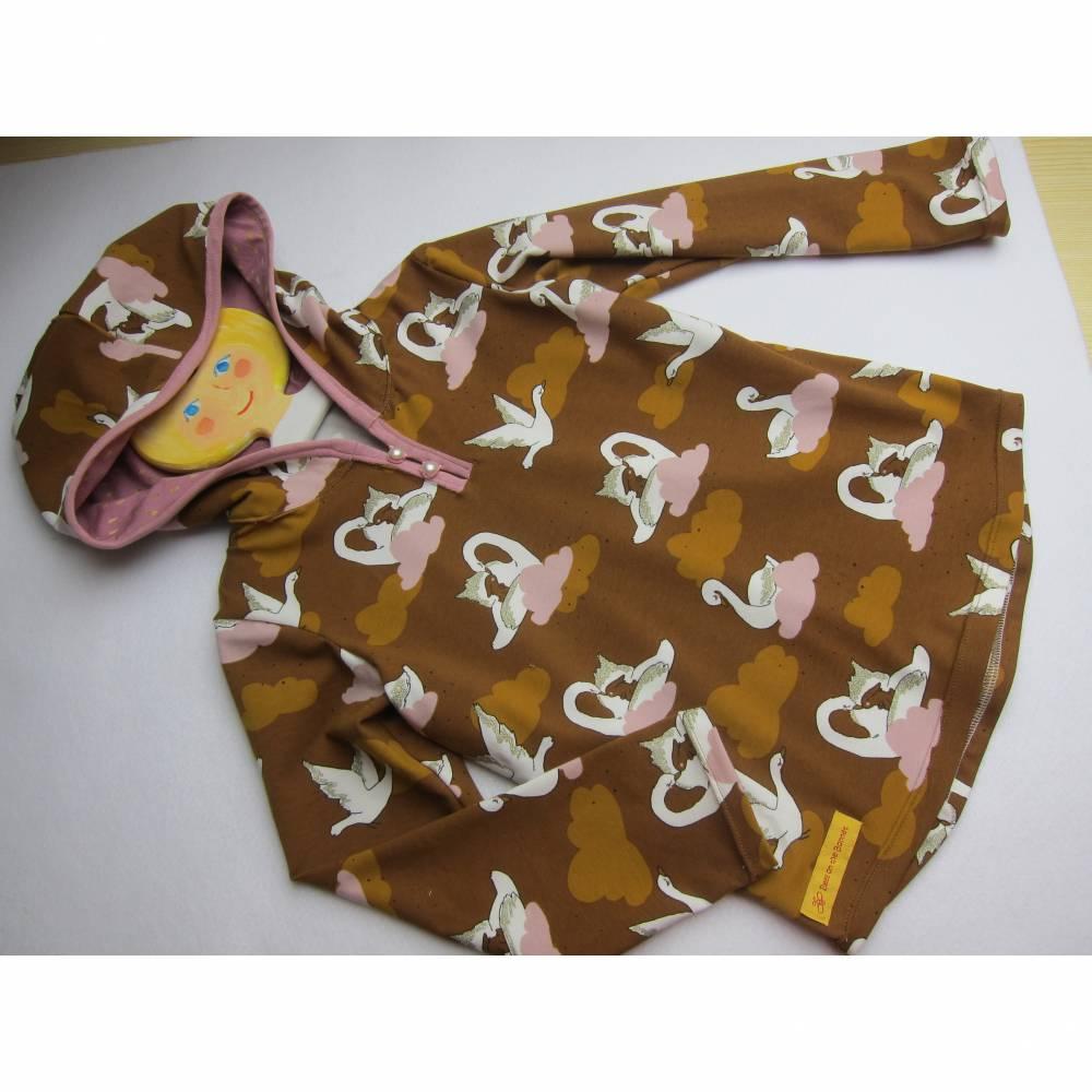 Glitzer Schwanen Hoody Sweatshirt Jacke in Gr 110 Öko Baumwolle Schlupf Hoodie braun/ rosa farben. Bild 1